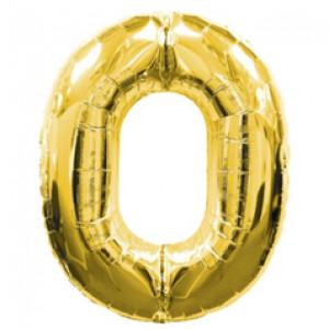 """Шар """"Цифра 0"""" Золото 99 см"""